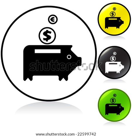vector illuminated round sign - 4 color pack - piggy bank - stock vector