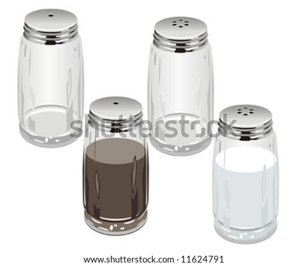 Vector illustaration salt & pepper shakers, separated by layers. More vector illustrations see in my portfolio. - stock vector