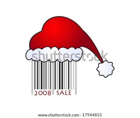 Vector illustartion of Santa's cap on barcode, perfect for different type of design... - stock vector