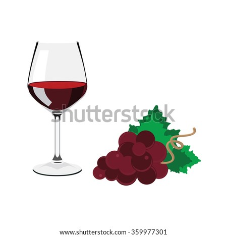 Vector illustation wine glass with red wine. Red grapes with green leaves - stock vector