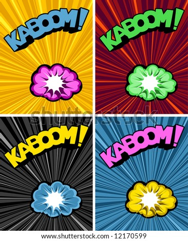 vector illustrated cartoon explosions and text on colourful explosive backgrounds - stock vector