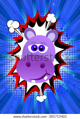 Vector illustrated hippo head on comic book style background.
