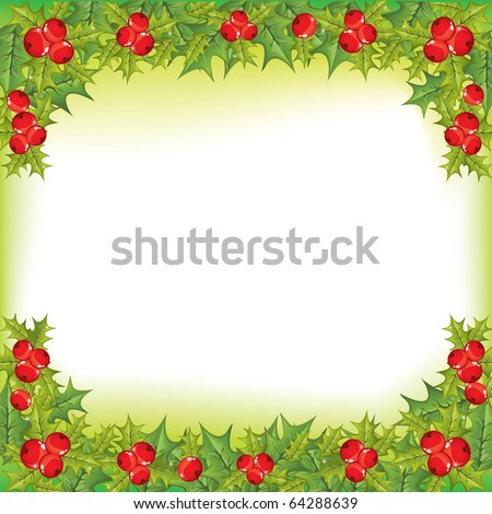 Vector illustrated holly berry square background - stock vector