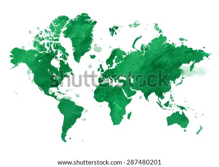 Vector Illustrated map of the world with a isolated background. watercolor - stock vector