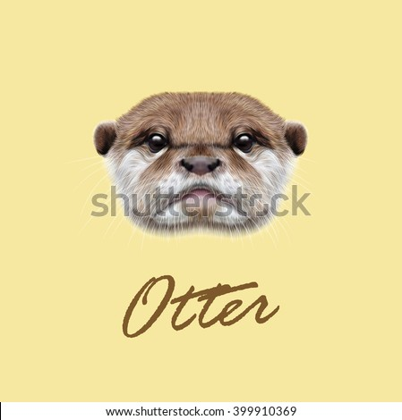 Vector Illustrated Portrait of Otter. Cute face of  aquatic Otter on yellow background. - stock vector
