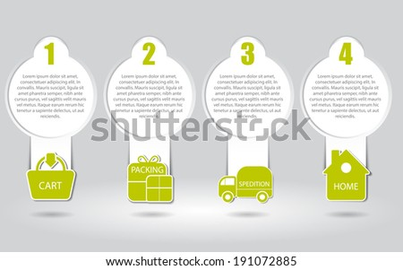 Vector illustrated scheme of the process of buying in the eshop with icons and place for texts. Can be used as instruction for shopping on internet. - stock vector