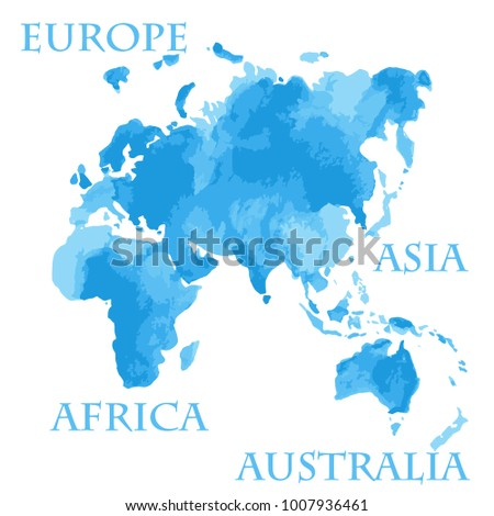 Vector illustrated watercolor style world map vectores en stock vector illustrated watercolor style world map parts like europe asia africa and australia painted gumiabroncs Images
