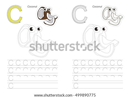 Vector Exercise Illustrated Alphabet Learn Handwriting Stock ...