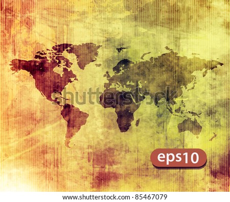 vector illustrated world map with white texture background. - stock vector