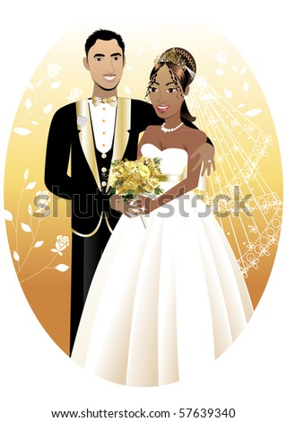 Vector Illustration. A beautiful bride and groom on their wedding day. Interracial Wedding Couple. - stock vector