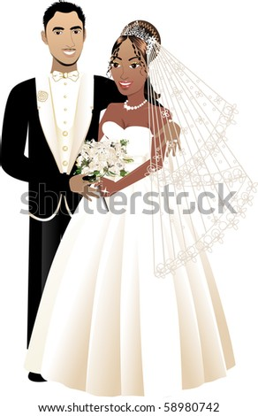 Vector Illustration. A beautiful bride and groom on their wedding day. Interracial Wedding Couple 4. - stock vector