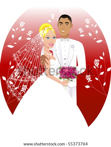 Vector Illustration. A beautiful bride and groom on their wedding day. Wedding Couple 6. - stock vector