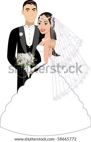 Vector Illustration. A beautiful bride and groom on their wedding day. Wedding Couple 1. - stock vector