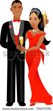 Vector Illustration. A beautiful Valentine Couple 1. - stock vector