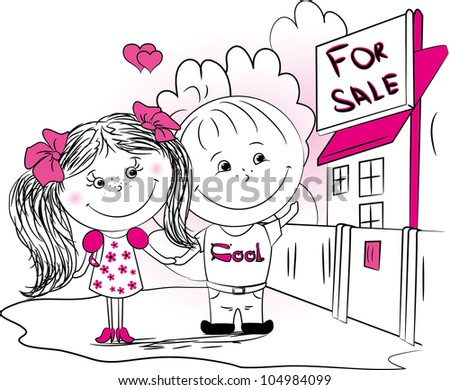 vector illustration, a couple in love are choosing a new home