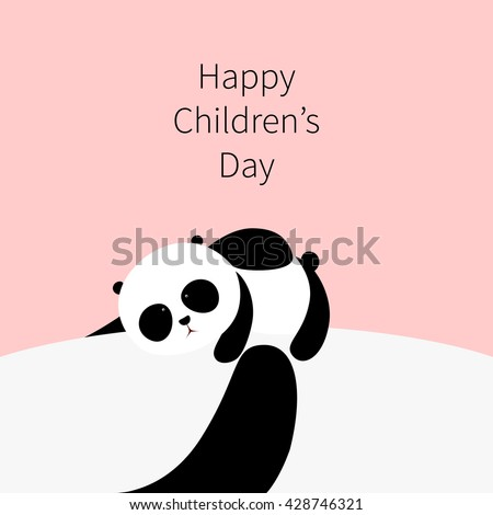 Vector Illustration: A cute cartoon little panda is lying on the belly of his father / mother, his father / mother is holding him in his / her arms, for Happy International Children's Day. - stock vector