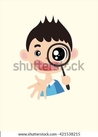 Vector Illustration: A cute cartoon school boy with a magnifier in his hand, wearing a blue and white T-shirt, laughing