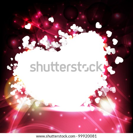 Vector illustration a heart  shape in white color and space for your text  on abstract colorful background. EPS 10, vector illustration. - stock vector