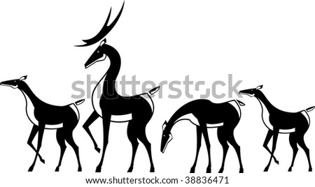 Vector illustration a herd of deer. Black and white. - stock vector