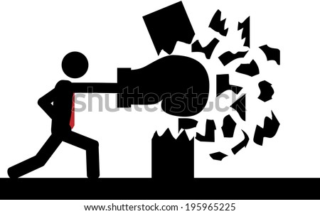 Vector / illustration. A man is boxing a wall. - stock vector