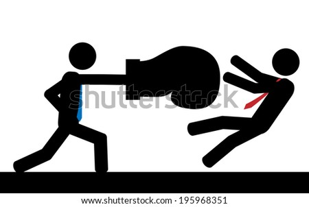 Vector / illustration. A man is hitting his boss with a boxing glove. - stock vector