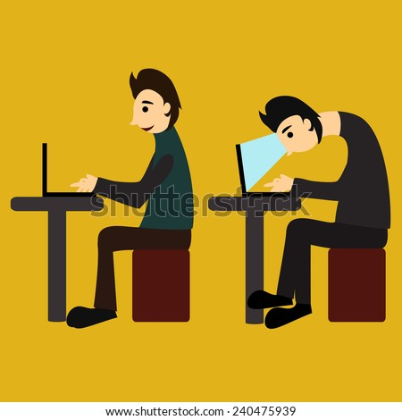 Vector illustration. A man sits hunched at the computer, another - more correctly - stock vector