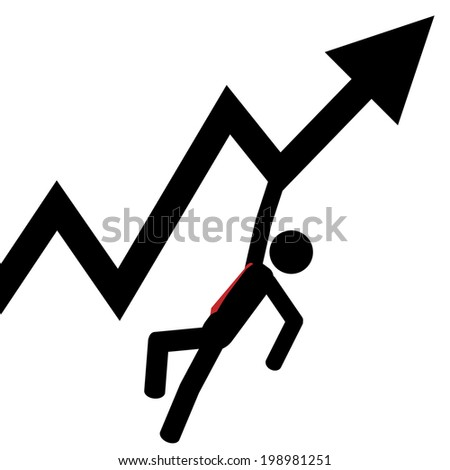 Vector/illustration. A man that is holding from an graphic arrow. - stock vector