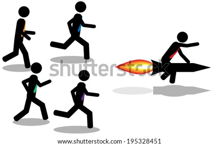 Vector/Illustration. A man win a contest by using a rocket. - stock vector