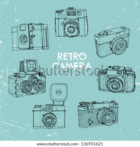 Vector illustration, a set of vintage cameras, painted by hand. - stock vector