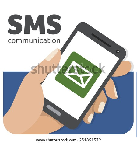 Vector illustration about the communication via SMS - stock vector