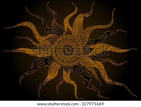 Vector illustration, abstract artline, kaleidoscope view, card concept. - stock vector