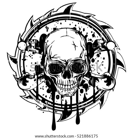 Vector illustration abstract black and white sign to skull