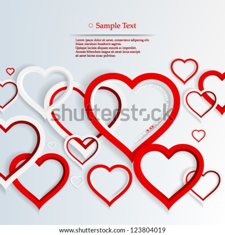 Vector illustration abstract 3D heart concept background design - eps10 - stock vector