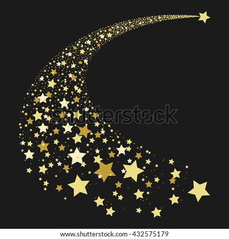 Vector illustration abstract Falling Star. Shooting Star with Elegant Star Trail on Dark Background - Meteoroid, Comet, Asteroid or Stars. Abstract background from stars. Comet tail from stars.  - stock vector