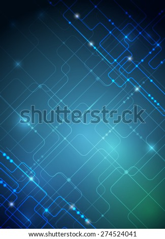 Vector illustration Abstract futuristic circuit board, high computer technology background ,green blue color background - stock vector
