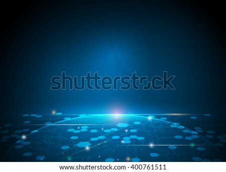 Vector illustration Abstract futuristic hexagons and circuit board, high computer technology, innovation communication concept. Dark blue color background - stock vector