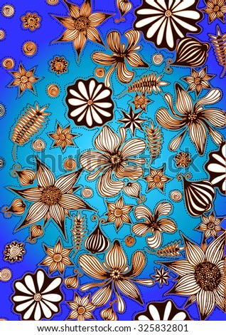 Vector illustration, abstract garden on blue background, card concept. - stock vector