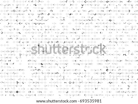 Vector illustration, abstract halftone backdrop in white and black tones in newsprint style with rhombuses, monochrome background for business card, poster, advertising