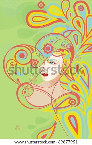 Vector illustration abstract heart with the woman