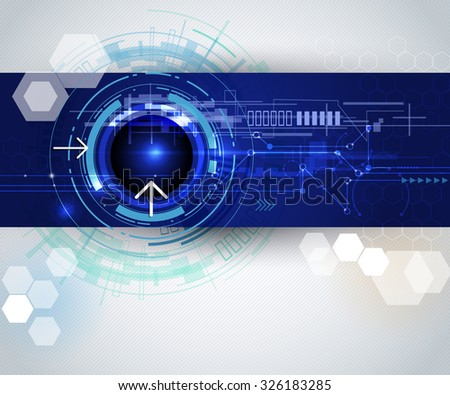Vector illustration Abstract hi tech , Modern electronic technology on blue background with Blank space for your content, template, communication, network ,web design, business tech presentation - stock vector