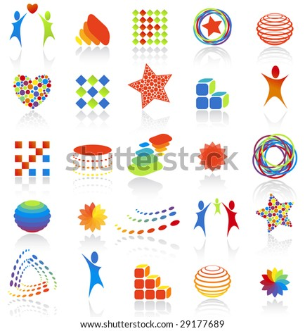 Vector illustration. 25 abstract icons. - stock vector