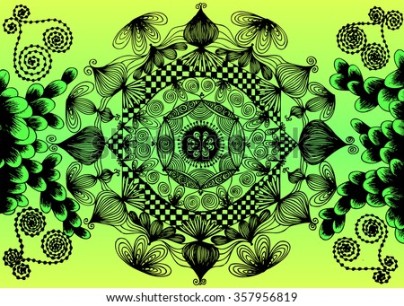 Vector illustration, abstract mandala landscape, psychedelic artwork suitable for print and pattern, gradient background, card concept. - stock vector