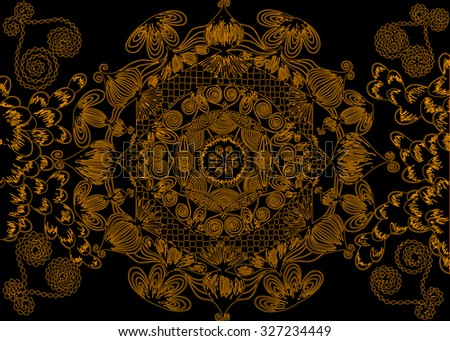 Vector illustration, abstract mandala print on black background, card concept. - stock vector
