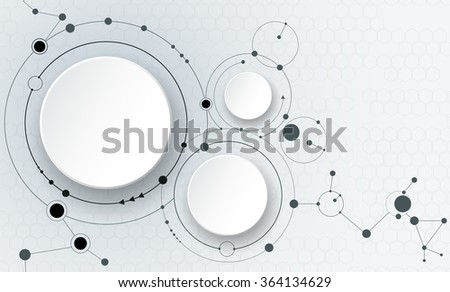 Vector illustration abstract molecules and communication, social media technology concept with 3D paper label circles design and space for your content, business, social media,network and web design   - stock vector
