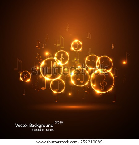 Vector illustration  abstract music background  - stock vector