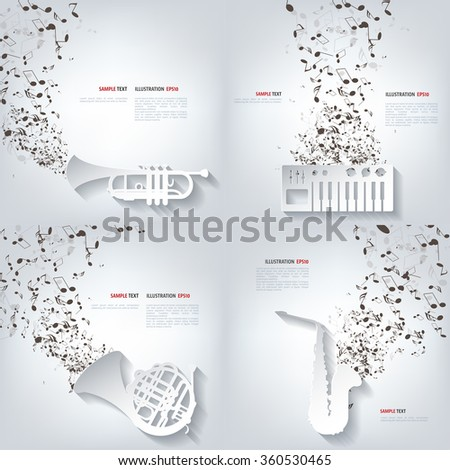 Vector illustration. Abstract musical background with notes. - stock vector