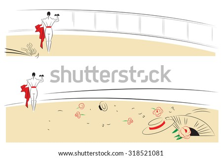 Vector illustration - Abstract paintings on the theme of bullfighting. - stock vector