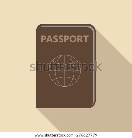 Vector illustration. Abstract passport on colour background with shade shadow  - stock vector