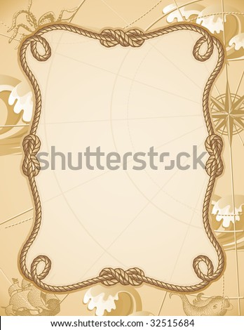 Vector illustration - abstract sailing knot frame - stock vector