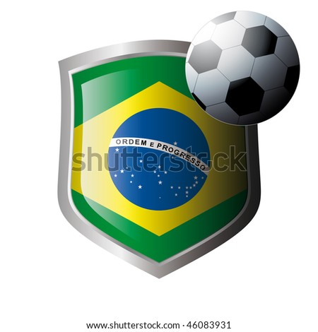 Vector illustration - abstract soccer theme - shiny metal shield isolated on white background with flag of brazil - stock vector